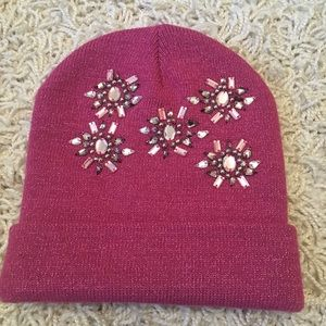 New winter hat embellished pink